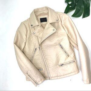 Zara Blush Moto Biker Jacket Faux Leather L